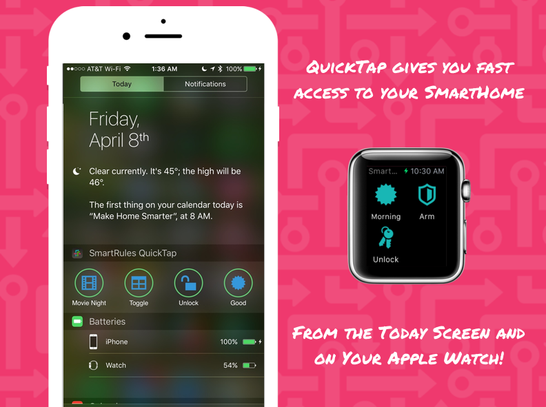 QuickTap rules on Today Screen and Apple Watch